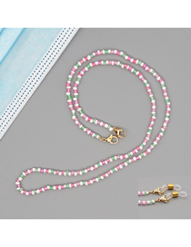 Fashion Pink Rice Beads Handmade Beaded Color Contrast Geometric Multifunctional Non-slip Glasses Chain
