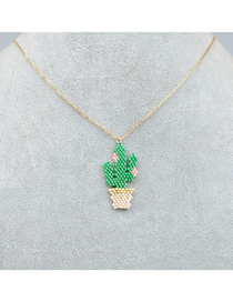 Fashion Green Cactus Rice Beads Woven Handmade Pendant Stainless Steel Necklace