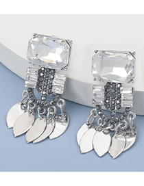 Fashion White Diamond Multi-layer Alloy Leaf Tassel Earrings