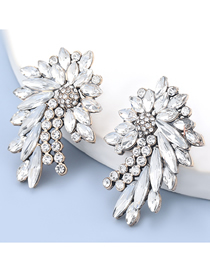 Fashion White Alloy Diamond Flower Geometric Earrings