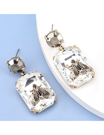 Fashion White Square Glass Diamond Alloy Bee Earrings