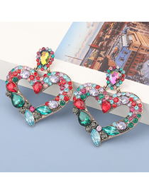 Fashion Color Alloy Diamond Heart Hollow Earrings