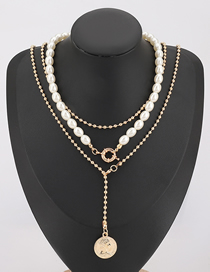 Fashion Three-piece Suit Imitation Pearl Alloy Round Portrait Pendant Necklace
