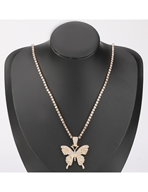 Fashion Gold Color Alloy Acrylic Diamond Butterfly Pendant Necklace