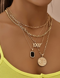 Fashion Gold Color Map Letter Hanging Type Handmade Multilayer Necklace