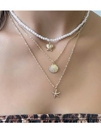 Fashion Gold Color Shell Turtle Starfish Multilayer Necklace