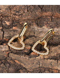 Fashion Gold Color Hollow Diamond Love Earrings