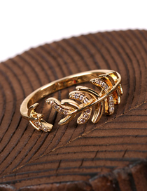 Fashion Fish Bones Fishbone Inlaid Diamond Open Ring