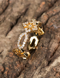 Fashion Gold Color Cross Micro Zircon Ring