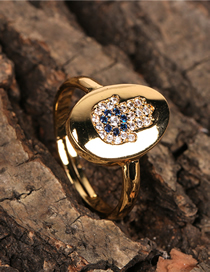 Fashion Palm Micro Inlaid Zircon Palm Eye Open Ring