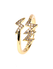 Fashion Lightning Copper And Diamond Lightning Open Ring