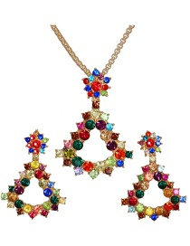 Fashion Color Triangle Border Diamond Crystal Necklace Earrings