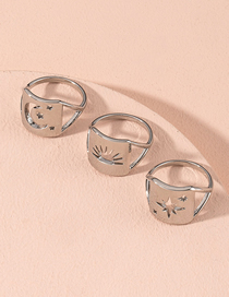 Fashion Silver Hollow Geometric Alloy Ring Set