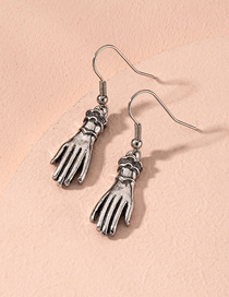 Fashion Silver Palm Distressed Alloy Earrings