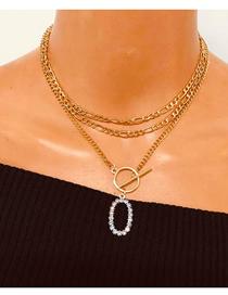 Fashion Golden Diamond Alloy Geometric Oval Pendant Necklace