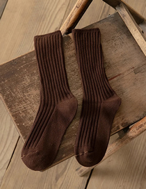 Fashion Dark Brown Solid Color Vertical Stripes Thickened Tube Pile Socks