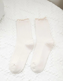 Fashion Creamy-white Womens Piled Socks With Vertical Stripes And Solid Colors