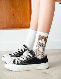 Fashion White Animal Bow Knot In Tube Pile Pile Socks