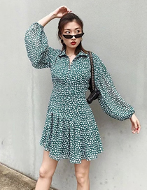 Fashion Green Floral Floral Chiffon Lantern Sleeve Dress