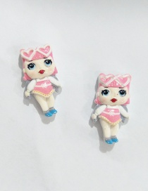Fashion Earring Pink Simulation Character Child Resin Alloy Earrings