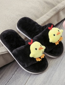Fashion Black Chicken Doll Flat Non-slip Parent-child Slippers