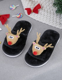 Fashion Black Plush Christmas Deer Children Slippers