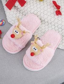 Fashion Pink Plush Christmas Deer Children Slippers
