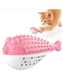 Fashion Red Pufferfish Cat With Mint Simulation Fish Bite Resistant Toothbrush