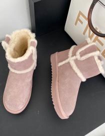 Fashion Gray Short Tube Plus Velvet Flat-bottomed Round Toe Snow Boots