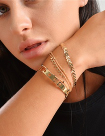 Fashion Golden Handmade Chain Moon Stone Airplane Leaf Multi-layer Bracelet