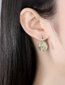 Fashion 18k Gold Copper Inlaid Zircon Elk Round Earrings
