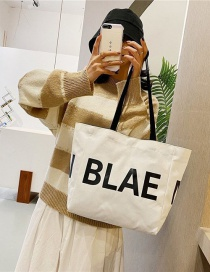 Fashion White Canvas Letter Print Shoulder Bag