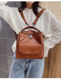 Fashion Light Brown Soft Leather Stitching Solid Color Backpack