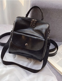 Fashion Black Soft Leather Stitching Solid Color Backpack
