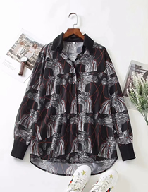 Fashion Geometric Patterns Printed Geometric Loose Long Sleeve Shirt