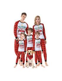 Fashion Childrens Clothing Christmas Printed Checkered Pajamas Fleece Suit