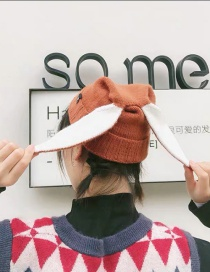 Fashion Caramel Rabbit Contrast Color Curled Knitted Hat