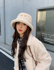 Fashion Apricot Thickened Rabbit Fur Letter Embroidery Fisherman Hat