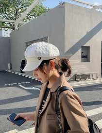 Fashion White Leather Stitching Contrast Octagonal Hat