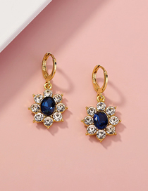 Fashion Golden Micro-set Zircon Sunflower Alloy Earrings