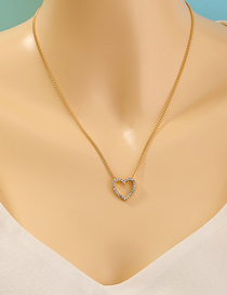 Fashion Golden Alloy Necklace With Diamond Heart Pendant