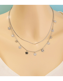 Fashion Silver Butterfly Tassel Alloy Hollow Double Necklace