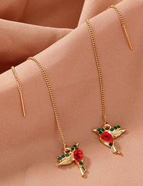 Fashion Golden Small Bird Wings And Diamond Alloy Earrings
