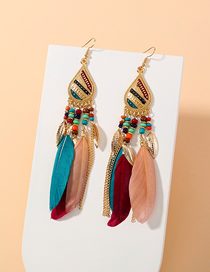 Fashion Feather Feather Long Tassel Alloy Earrings