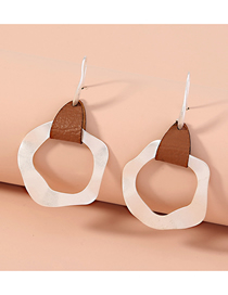 Fashion Round Leather Sand Silver Wave Round Earrings
