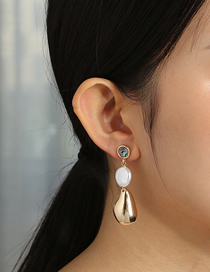 Fashion Golden Natural Abalone Shell Long Fringed Pearl Shaped Earrings