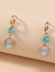 Fashion Golden Turquoise C-shaped Round Alloy Earrings