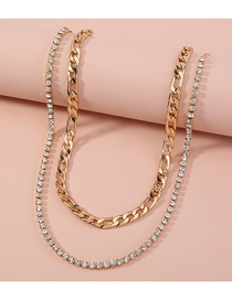 Fashion Golden Diamond Thick Chain Alloy Double Necklace