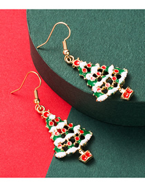 Fashion Green Christmas Series Alloy Drip Oil Hollow Christmas Tree Earrings