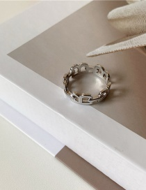 Fashion Silver Letter Alloy Hollow Plain Ring Open Ring